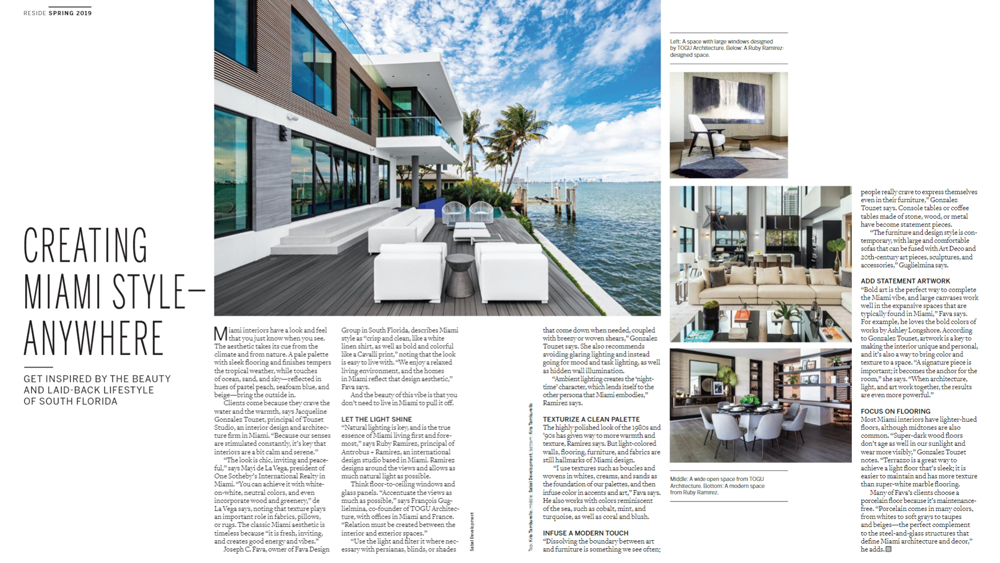 Touzet Studio — Creating Miami Style Anywhere — Architecture Design Firm, Miami — Reside by Sotheby's International Realty